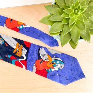 VINTAGE WOODY Woodpecker 100% Silk Italian Tie